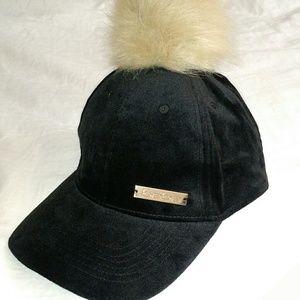 Bebe - Black Velvet Faux Fur Ball Baseball Cap NWT